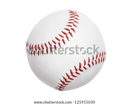 Clean new baseball isolated with clipping path. - stock photo