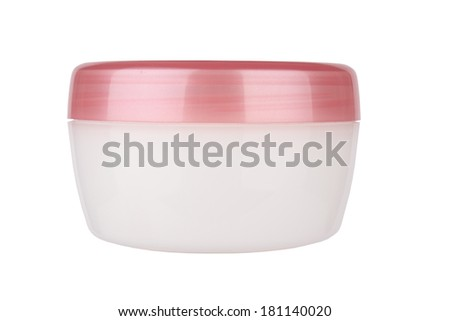 Clean pink plastic cream tube for skin isolated on white