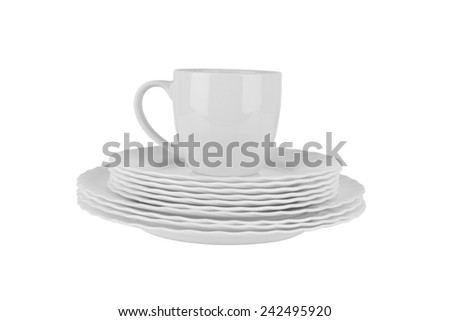 Clean plates and cup isolated on white background