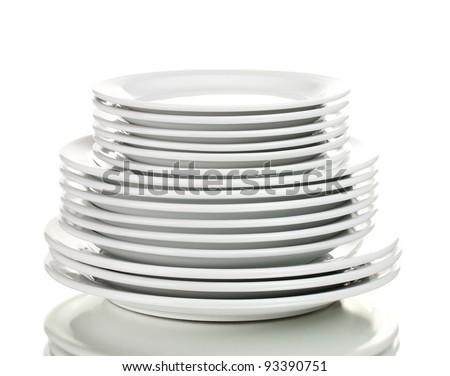 Clean plates isolated on white - stock photo