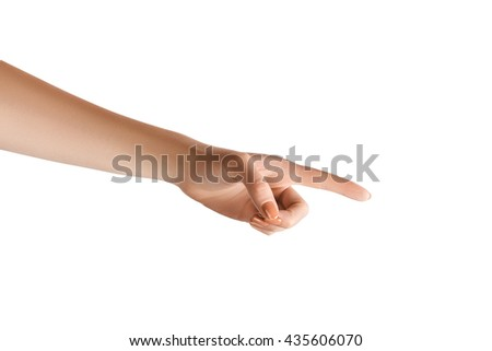 Clean retouched female hand with pointing finger. Isolated on white with clipping paths - stock photo