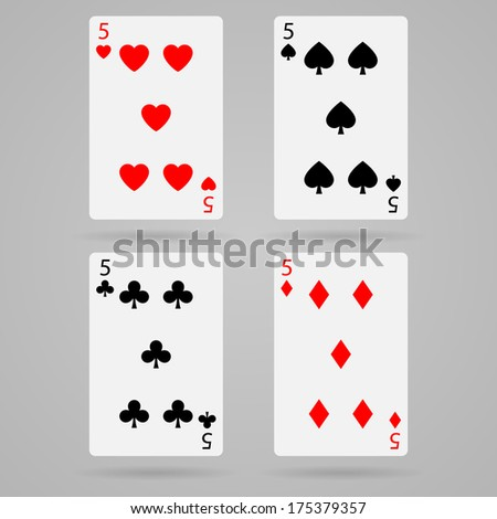 Clean set of playing cards, five