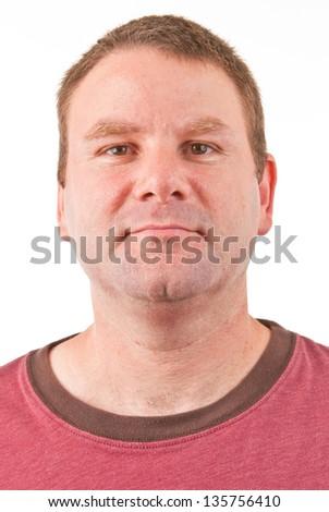 Clean shaven Caucasian male facing forward - stock photo