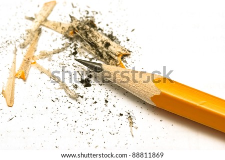 Clean sheet of a paper with yellow pencil on desk - stock photo