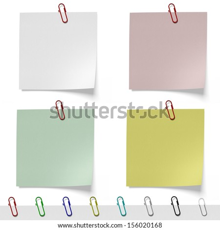 Clean sheets for notes with paper clips isolated on white background