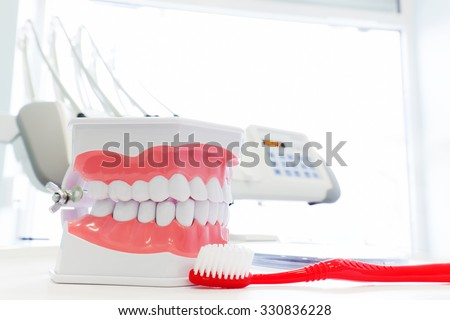 Clean teeth denture, dental jaw model and toothbrush in dentist's office. Dentistry - stock photo