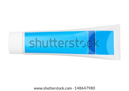 Clean tube of toothpaste isolated on white background - stock photo