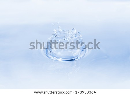 Clean water splash isolated on clear white background