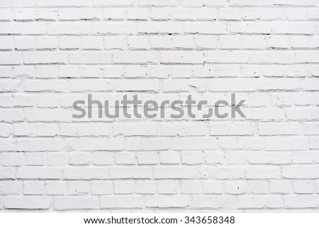 Clean white brick wall background texture.  - stock photo
