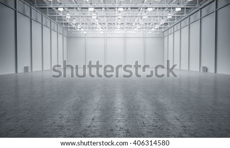 Clean White empty warehouse 3D rendering - stock photo