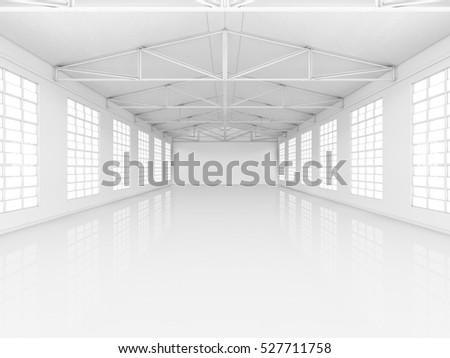 Clean white empty warehouse with windows. 3D rendering