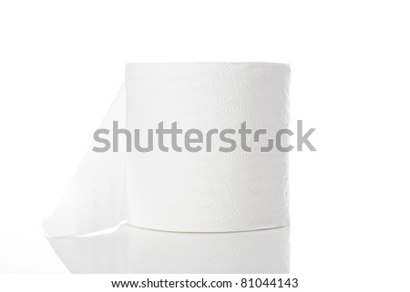 Clean white toilet paper against a white background - stock photo