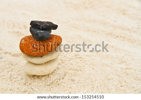 Cleaned stone and smooth sand  - stock photo