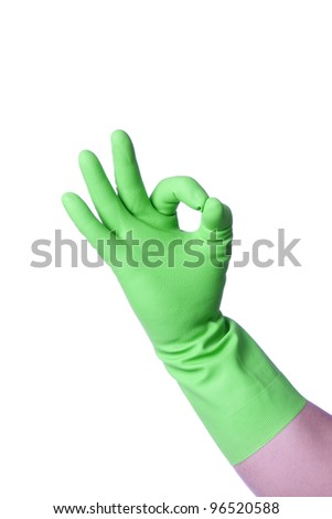 cleaner hand in green rubber glove gesturing ok isolated on white background - stock photo