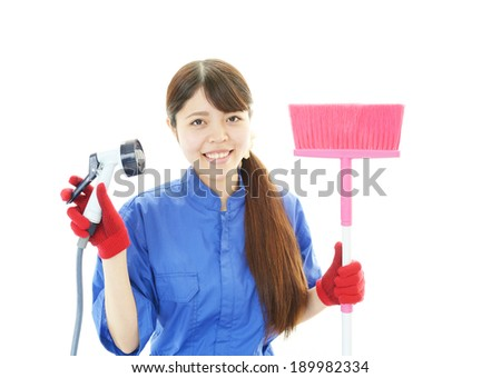 Cleaner maid woman.  - stock photo