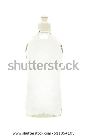 Cleaning agents, body care products in plastic bottles isolated on white background.