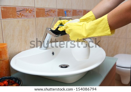 Cleaning bathroom - stock photo