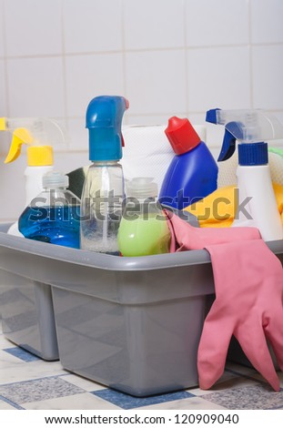 cleaning bathroom clean kitchen - stock photo