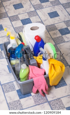 cleaning bathroom products  - stock photo