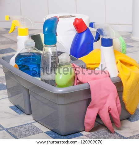 Cleaning Bathroom room service wipe tiles - stock photo
