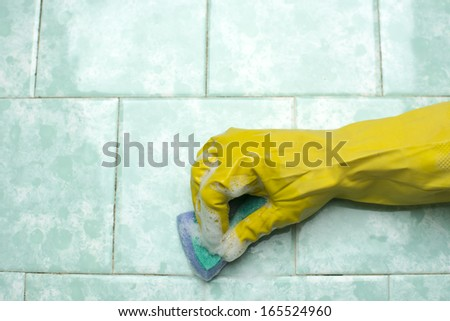 Cleaning ceramic  - stock photo