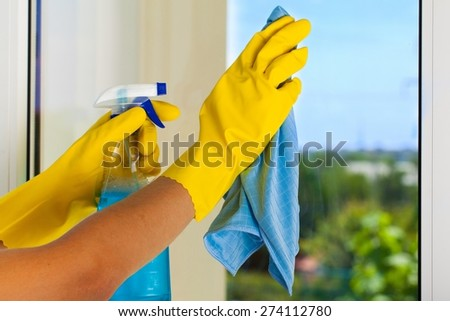 Cleaning, Cleaner, Window. - stock photo