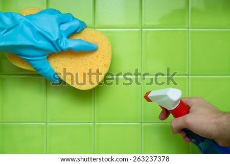 Cleaning. Cleaning House - Scrubbing Tile - stock photo