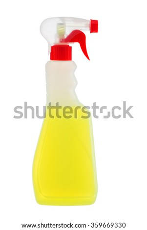 Cleaning detergent in plastic bottle isolated on a white background - stock photo