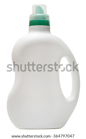 cleaning equipment .colored plastic bottles with Detergent isolated on white background .
