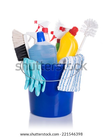 Cleaning equipment in bucket. Isolated on white - stock photo
