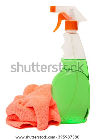 cleaning equipment isolated on a white background. colored plastic bottles with Detergent isolated on white background . Studio shooting - stock photo