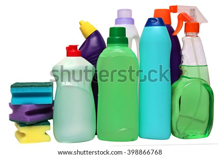 cleaning equipment isolated on a white background. colored plastic bottles with Detergent isolated on white background . Studio shooting. Set.  - stock photo