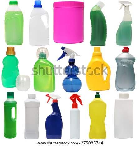cleaning equipment isolated on a white background. ?olored plastic bottles with Detergent isolated on white background . Studio shooting. Set.