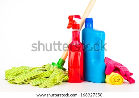 cleaning equipment isolated on white