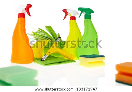 cleaning equipment isolated on white background