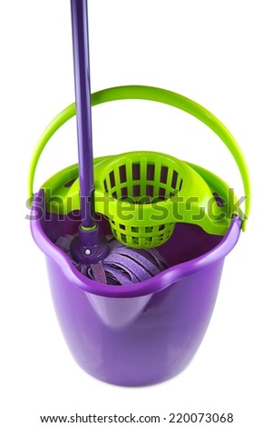 Cleaning equipment, Mop on a white background - stock photo