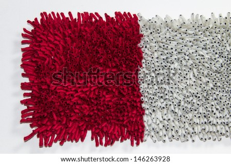 Cleaning feet carpet - stock photo