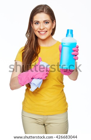 Cleaning fluid. Smiling woman hold blue bottle. Housekeeper isolated portrait.