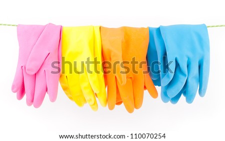 cleaning gloves - stock photo