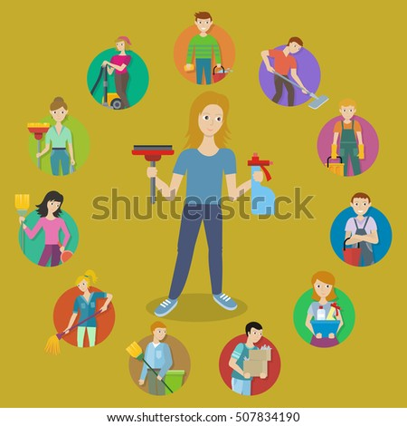 Cleaning House Service Round Icon Set. Man And Woman With Equipment And  Detergent. Staff