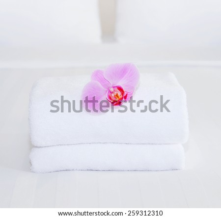 cleaning in a hotel room - stock photo