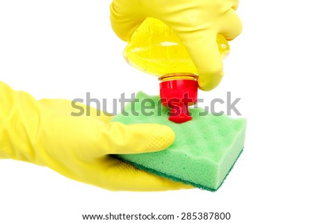 Cleaning in hands with gloves isolated on white background. - stock photo
