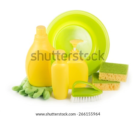 Cleaning items in bucket isolated on white  - stock photo