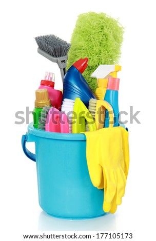 Cleaning items in bucket isolated on white background
