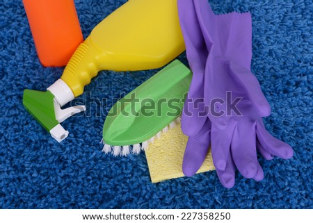 Cleaning items on carpet close up - stock photo