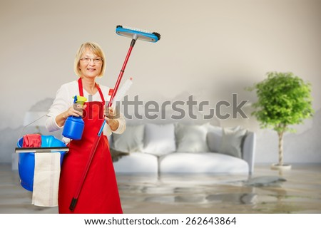 Cleaning lady in room with water damage after pipe leak - stock photo