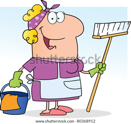 Cleaning Lady.Vector version also available - stock photo
