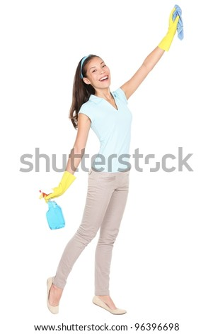 Cleaning lady. Woman cleaning scrubbing and polishing reaching and stretching with cleaning cloth and spray bottle. Funny portrait of Asian / Caucasian girl  standing isolated on white background. - stock photo