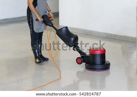 Cleaning Maintenance Industrial Expand In Big Cities, Cleaner Staffs Have  To Use Scrubber Machine For