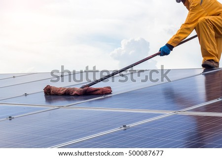 cleaning of solar cell.the concept of working,cleaning and checking on solar cell.